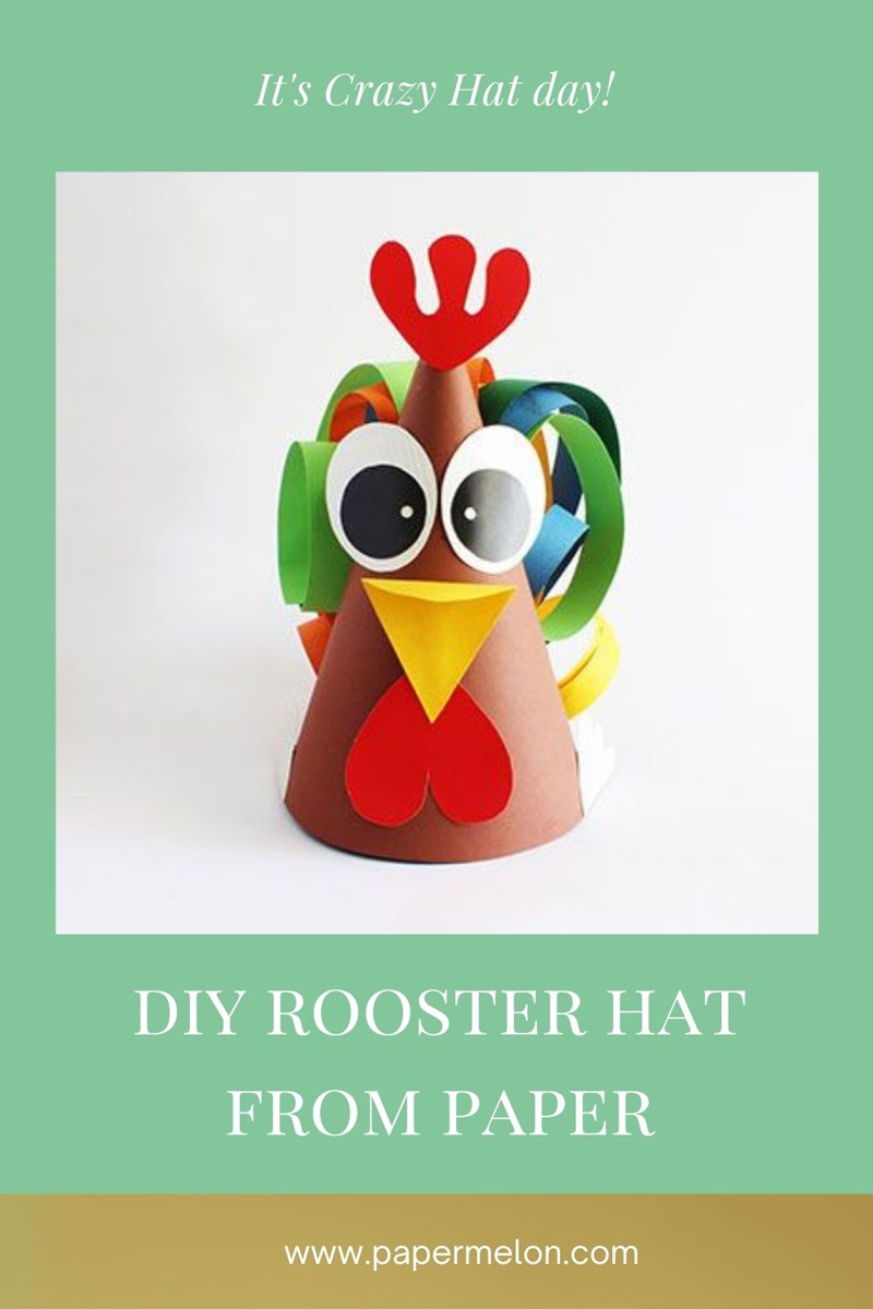 DIY rooster hat from paper easter
