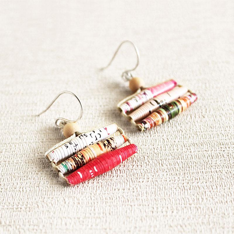 Magazine earrings ethical jewelry paper earrings