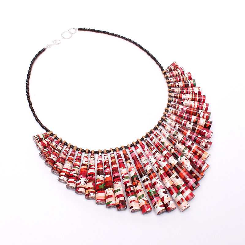 chunky red and white necklace