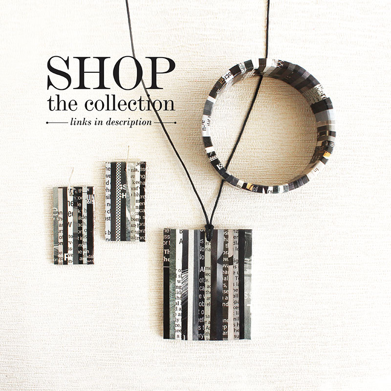 newspaper jewelry necklace earrings bracelet