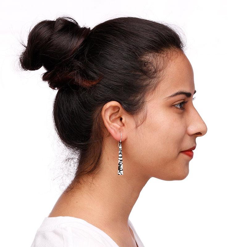 modern black white dangle earrings
