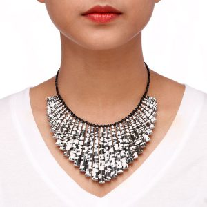 Black and white modern statement choker necklace