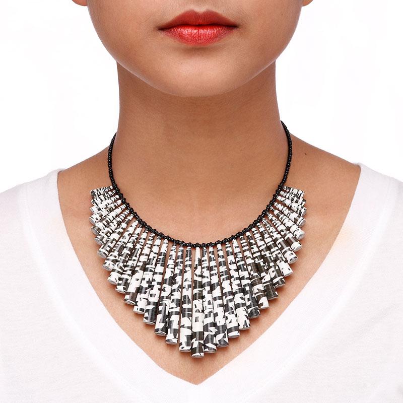 Black and white modern statement choker necklace