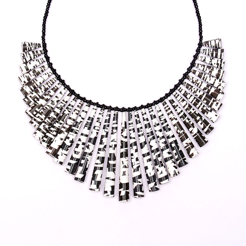 crossword puzzle necklace in black and white