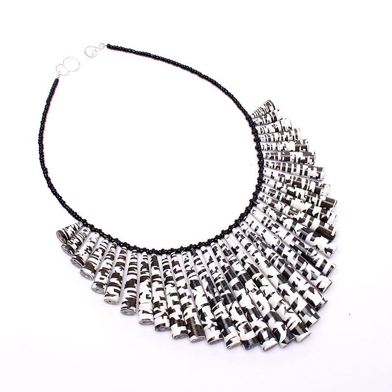 modern black and white statement bib necklace