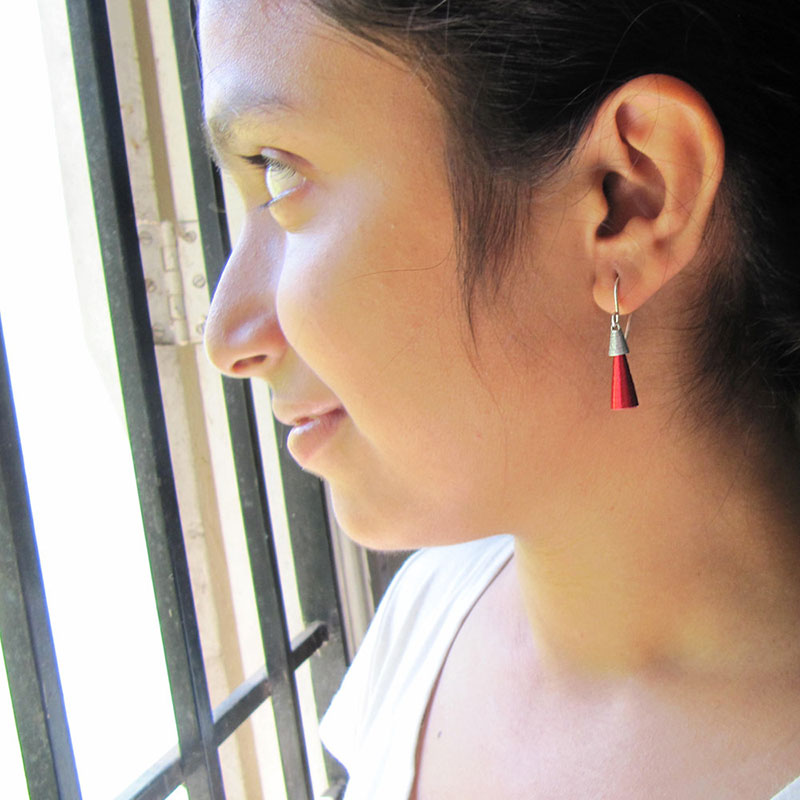 red and silver paper dangle earrings