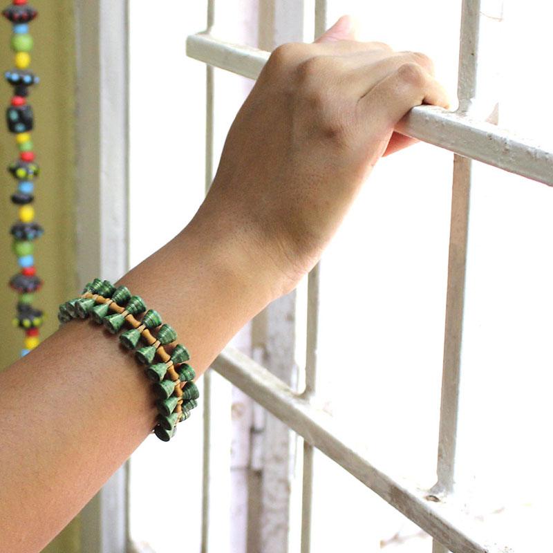 tropical fern bracelet - Nature Inspired Organic Boho Green Leaf Jewelry