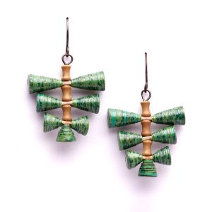 Natural Green Leaf Shaped Boho Dangle Earrings