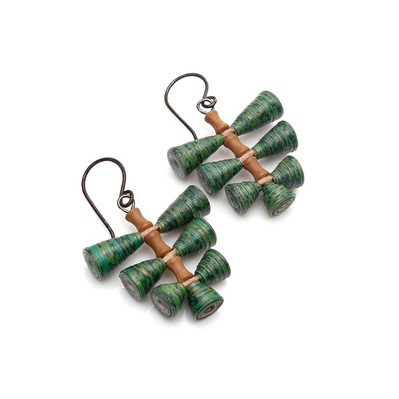 Tropical fern earrings nature inspired boho dangles