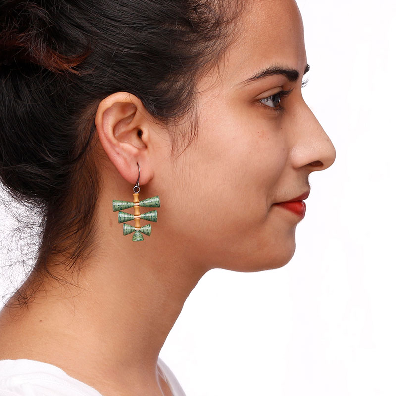 organic green leaf earrings made from paper