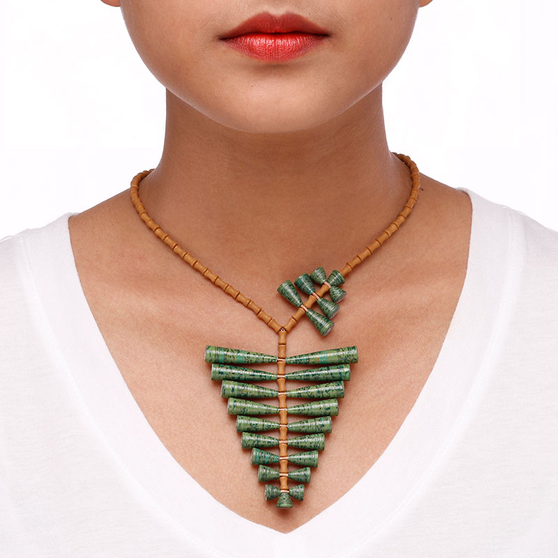 tropical fern necklace leaf boho statement jewelry