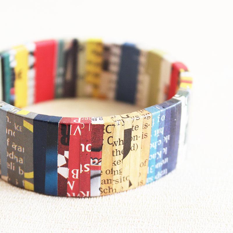 colorful newspaper bracelet eco friendly jewelry