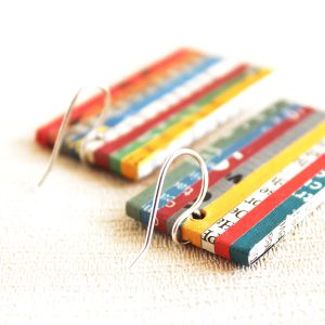 newspaper earrings eco jewelry