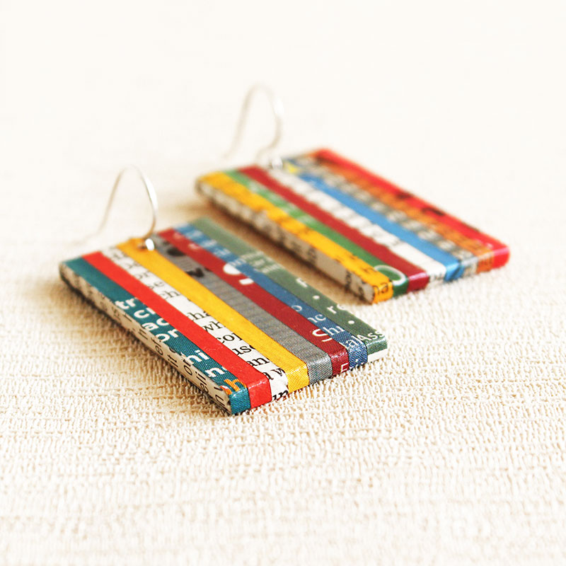 newspaper earrings eco jewelry literary gift for book nerd