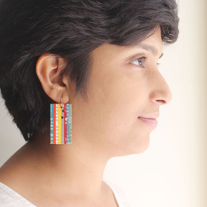 colorful newspaper earrings upcycled literary gift