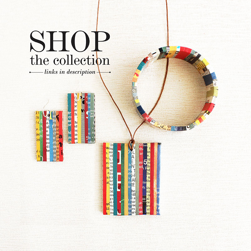 colorful newspaper jewelry