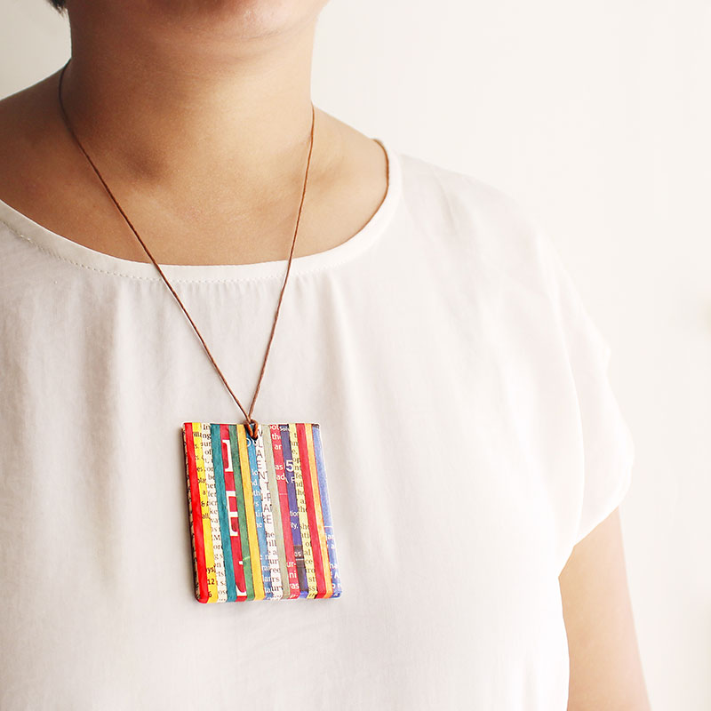 newspaper necklace recycled jewelry journalist gift