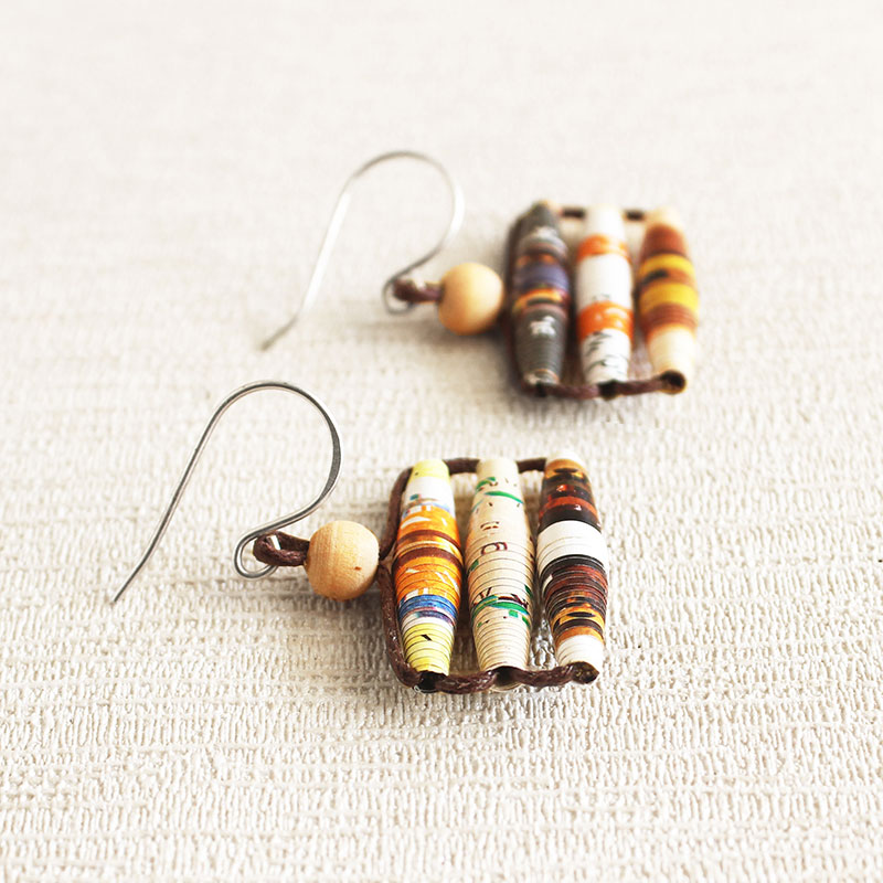 food magazine paper bead earrings gift for cook