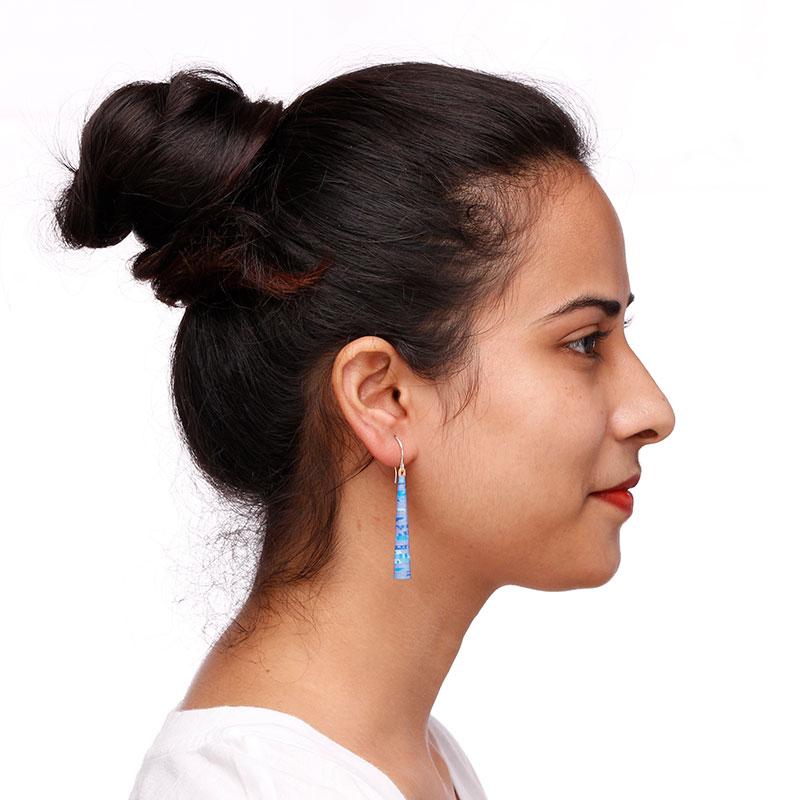 simple dainty lilac drop earrings