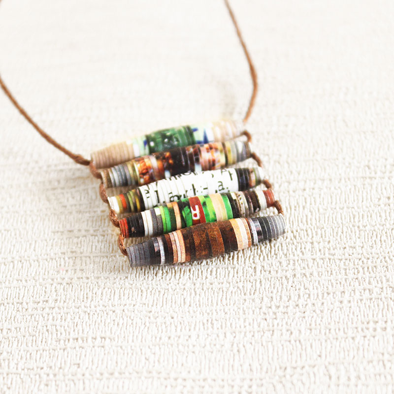 recycled necklace made from garden magazine