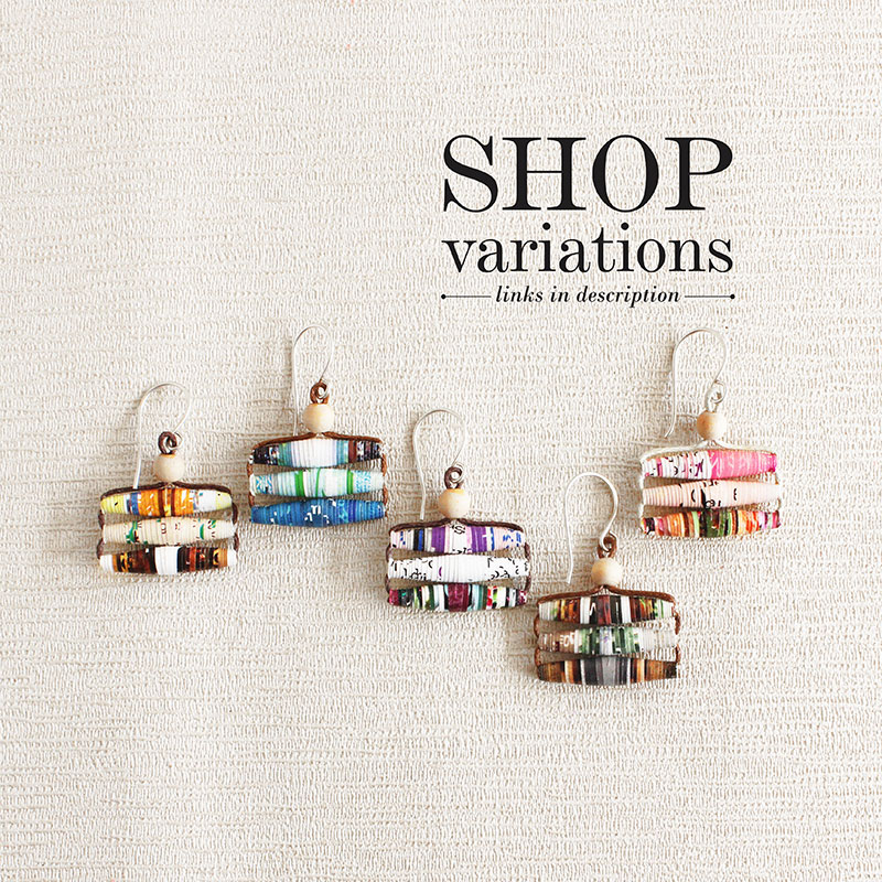 magazine bead earrings