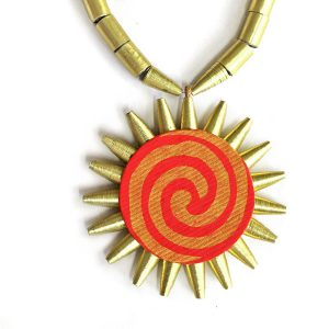 Unique Indian Sun pendant necklace Red and Gold