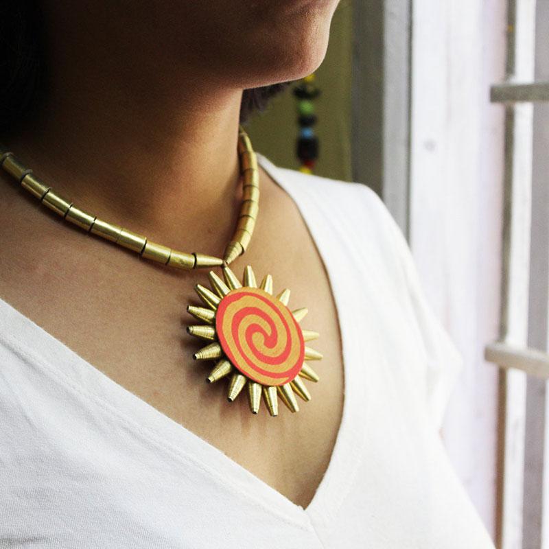 Indian sun pendant necklace