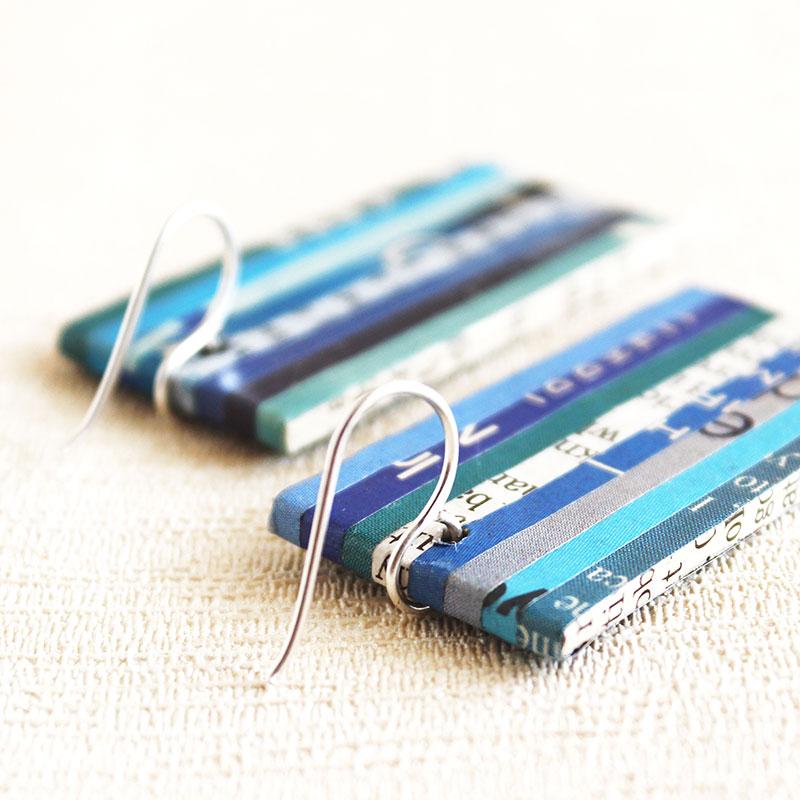 newspaper earrings paper jewelry
