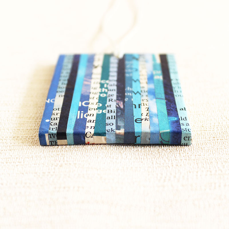 blue newspaper necklace ethical jewelry