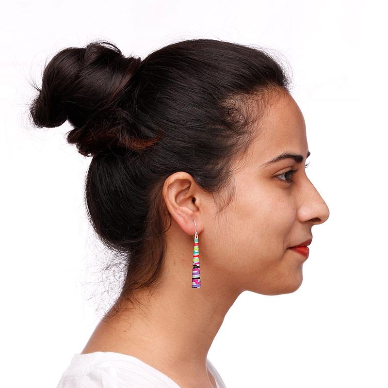 long drop earrings neon colors