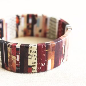 nostalgic newspaper bracelet literary jewelry gift for writer
