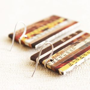 nostalgic newspaper earrings organic jewelry
