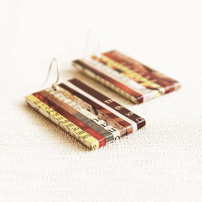 organic earrings made from recycled newspaper