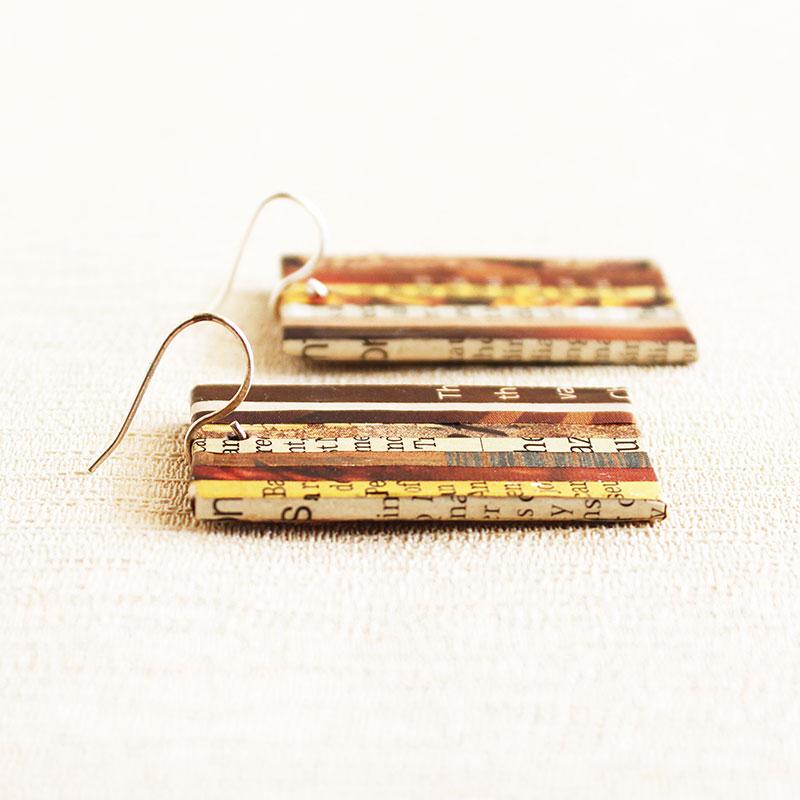 newspaper earrings geek book lover gift