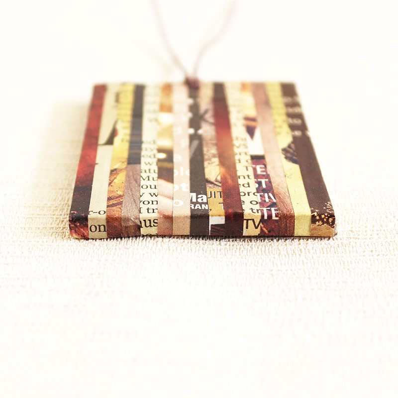 brown nostalgic newspaper necklace eco-friendly gift