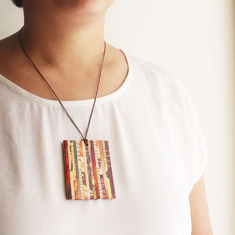 newspaper necklace sustainable jewelry eco-friendly gift