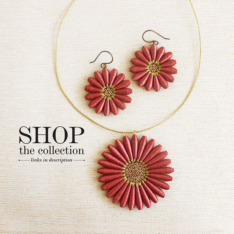 brown daisy flower paper jewelry collection