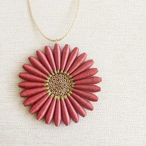 Brown Daisy Necklace Dainty Flower Pendant