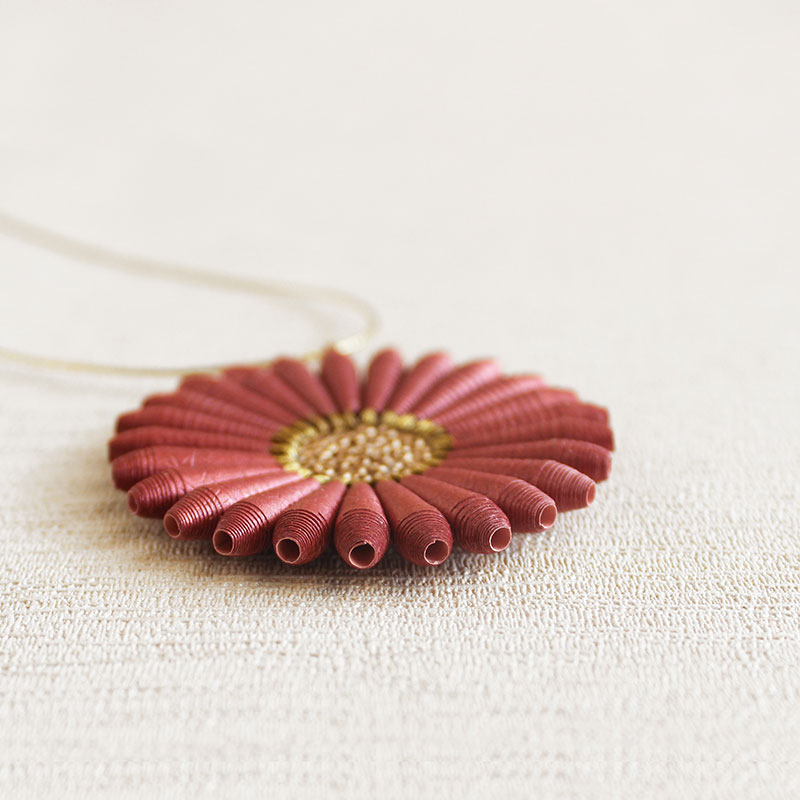 Organic Flower Necklace from paper beads