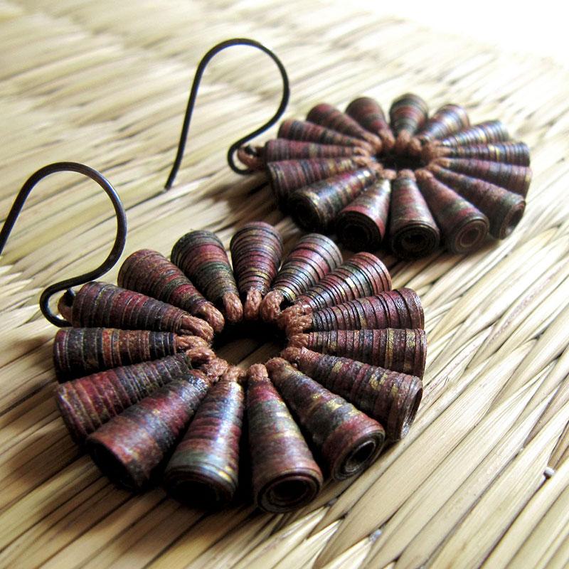 rustic brown earrings Indian Earthy Big Bold Organic Jewelry