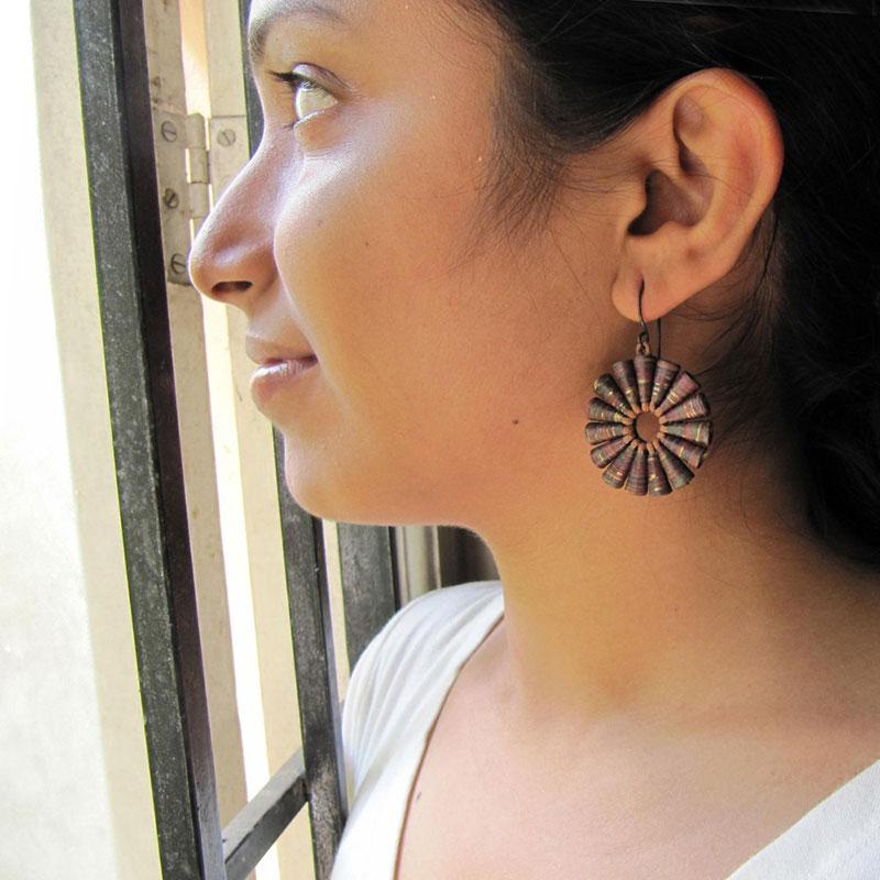 Indian Earthy Brown Big Bold Organic earrings