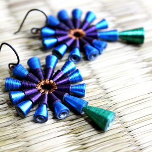 Peacock Earrings Big Bold Indian Statement Dangle Earrings