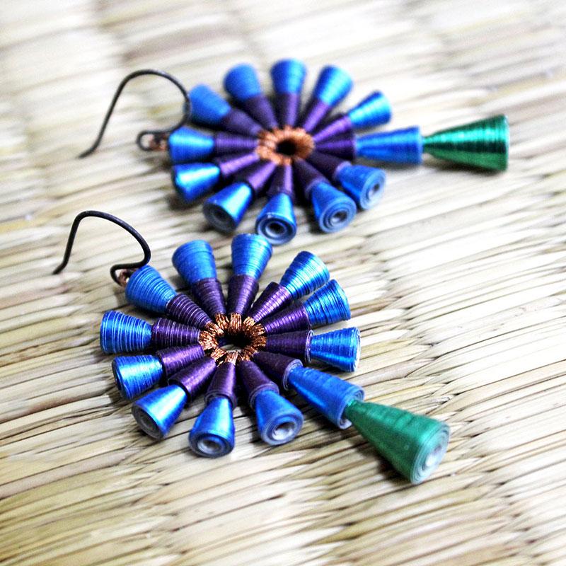 Peacock earrings blue green violet copper