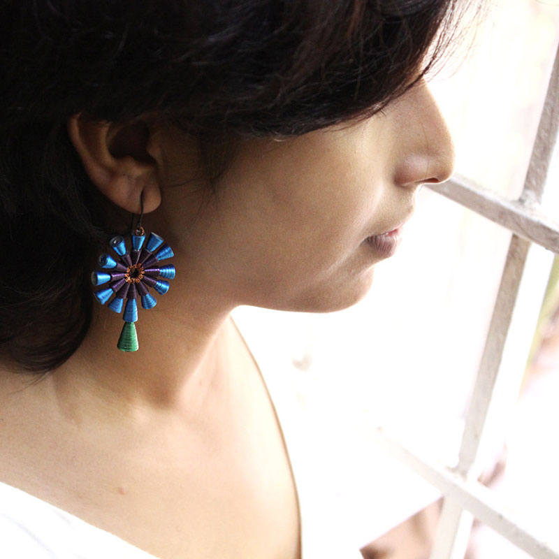 statement peacock earrings made in India