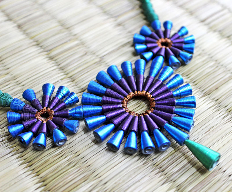 Indian peacock feather necklace bold statement jewelry