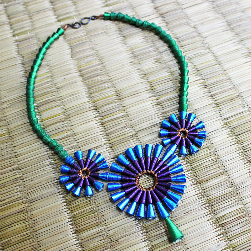 Peacock feather necklace Indian statement jewelry