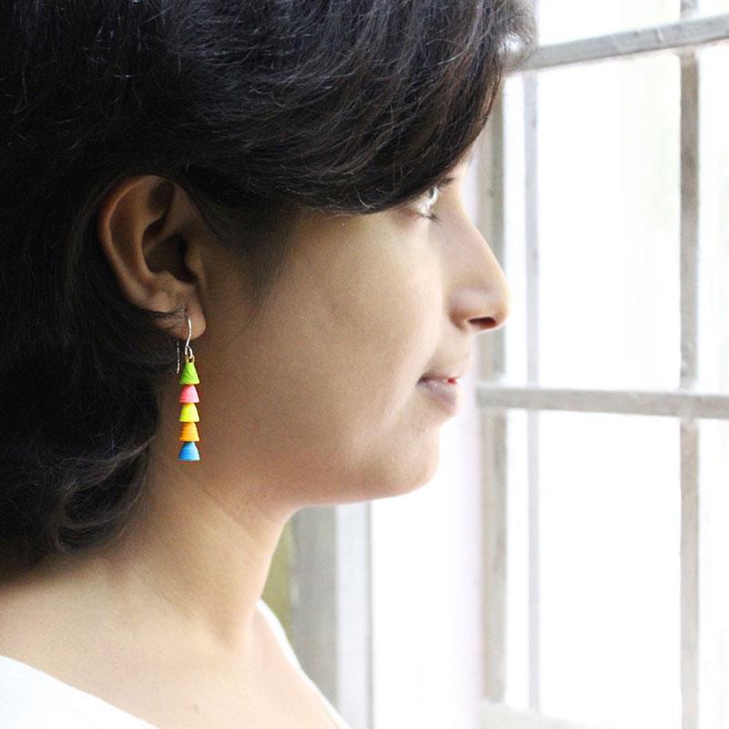 funky colorful neon dangle earrings
