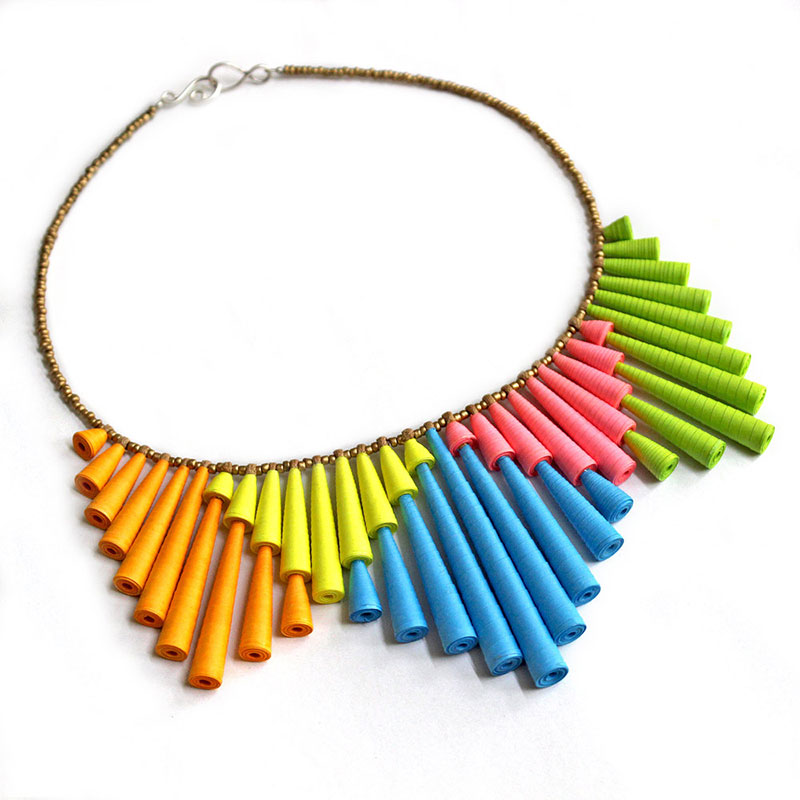 funky jewelry neon necklace big colorful statement