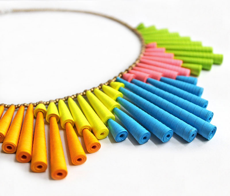 big neon colorful statement necklace funky jewelry
