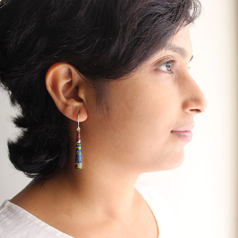 boho earrings made from paper